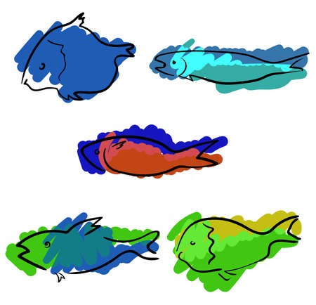Set of colored handdrawn fishes Banque d'images