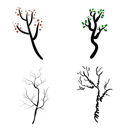 Vector deer antlers isolated on white. Set of different branched