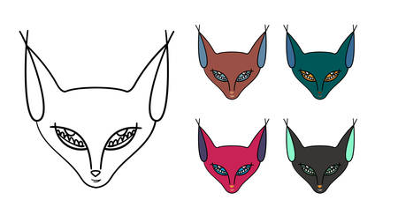 Set of five muzzle of a cat-sphinx Çizim