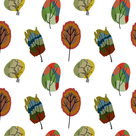 seamless colored trees on a white background Illustration