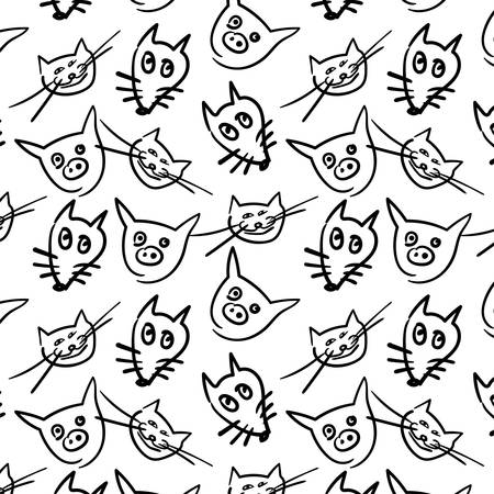 Background with cartoon animals Çizim