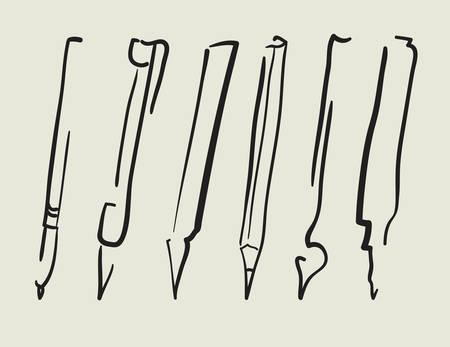 Vector Pen, pencil, marker, brush