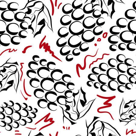 Seamless pattern with grapes Çizim