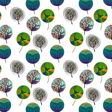 Seamless pattern with colorful trees. Eps 10
