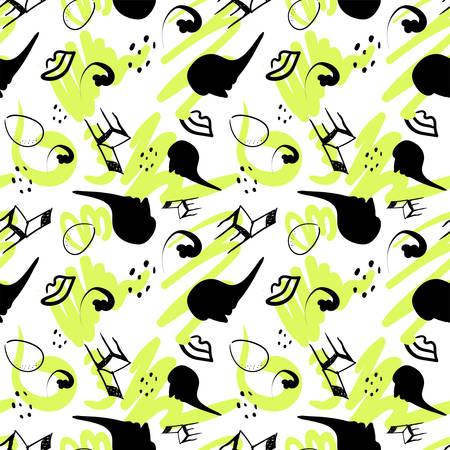 surrealism stylized seamless pattern colorcast on a white. Vector Çizim
