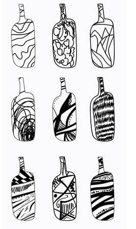 Set of esign bottles. Hand drawn design element isolated on white background. Çizim