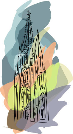 Vector with gothic cathedral