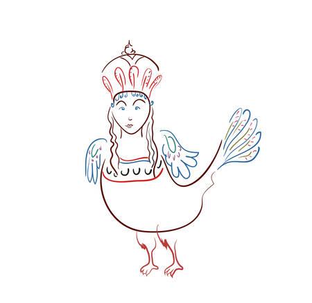 Mythological sirin bird half-woman half-bird in color on a white background Çizim