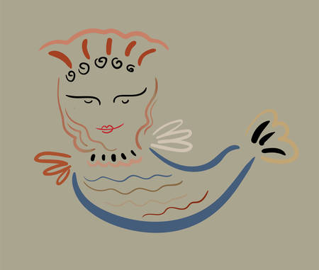 Mythological sirin bird half-woman half-bird in color on a dove-colored background