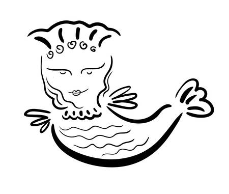 Mythological sirin bird half-woman half-bird in black contour on a white background