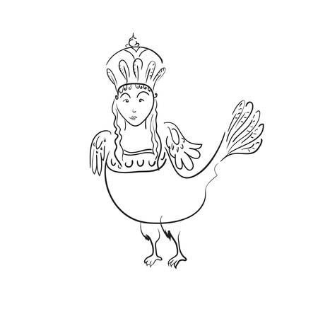 Mythological sirin bird half woman and half bird in black contour on a white background Çizim