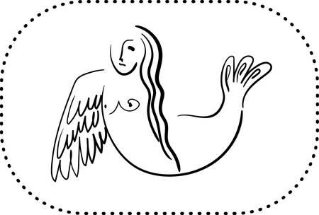 Mythological sirin bird half-woman half-bird in black contour Illustration