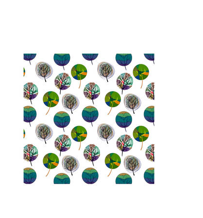 Seamless pattern with colorful trees