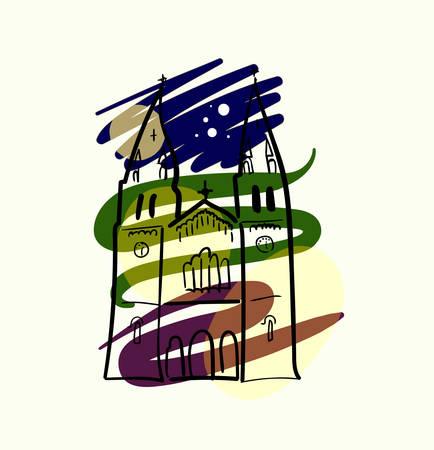 Church outline image design illustration Çizim