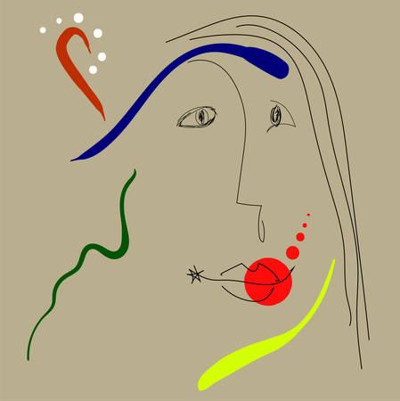 Woman portrait in joan miro style. Eps 10 免版税图像 - 114858862