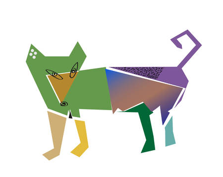 Dog in cubism style on a white backgroud. Vector 10 eps Banque d'images - 105356763