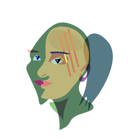 Hand drawing girl face in cubism style. Banque d'images - 107694998