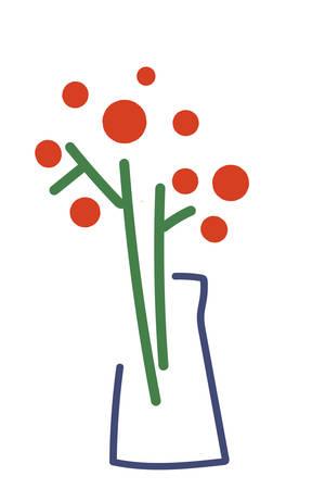 Stylized icon in modern minimalism. Flowers in vase. Çizim