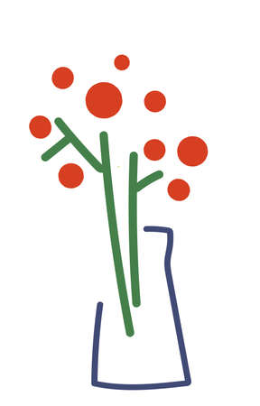 Stylized icon in modern minimalism. Flowers in vase Banque d'images