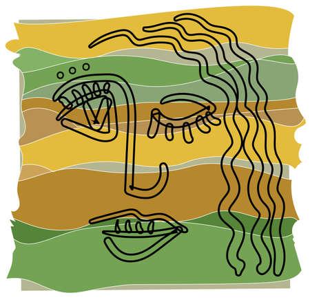Carita de niña en estilo de esquema de cubismo sobre un fondo abstracto en colores cálidos.