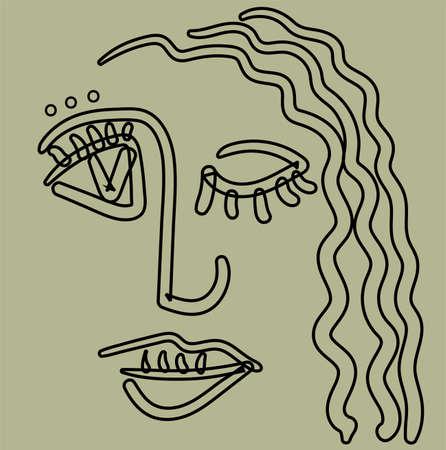 Cara de niña en el estilo de esquema de cubismo básico. Foto de archivo