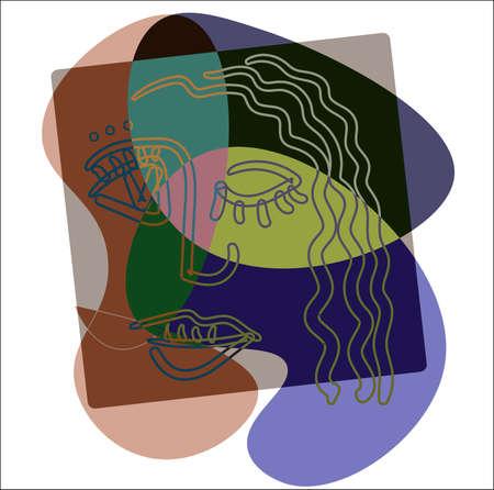 Carita de niña en el estilo de contorno del cubismo sobre un fondo de manchas abstractas