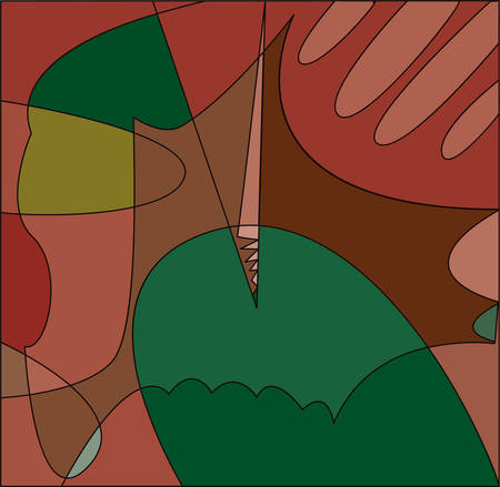 Abstract cubism background in green and red tones.