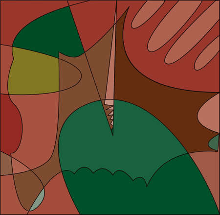 Abstract cubism background in green and red tones Banque d'images