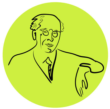 Portrait of a famous Russian teacher, director, actor, writer, founder of the Moscow Art Theater Stanislavsky on yellow circle background Illustration