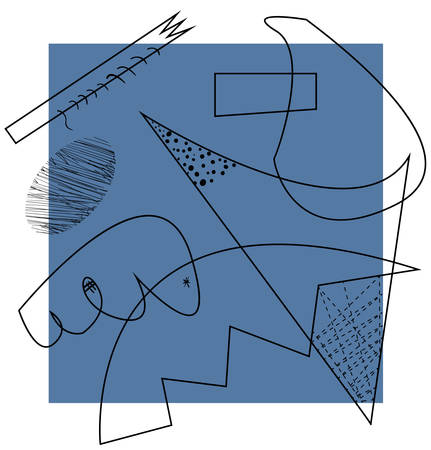 Abstract vector artwork with outline on a blue and white, inspired by cubism