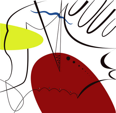 Abstract vector artwork, inspired by Spanish painter Joan Miro.