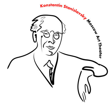 Portrait of a famous Russian teacher, director, actor, writer, founder of the Moscow Art Theater Stanislavsky on white Background