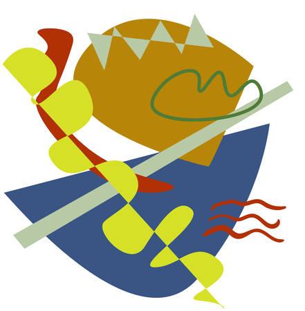 Matisse inspired ship colorful design, vector illustration.
