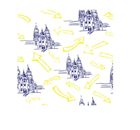 Seamless with cathedral Santiago de Compostela with yellow arrows Illustration