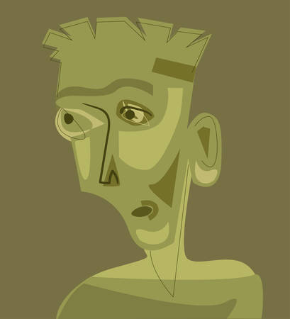 Man portrait in cubism art style. Vector