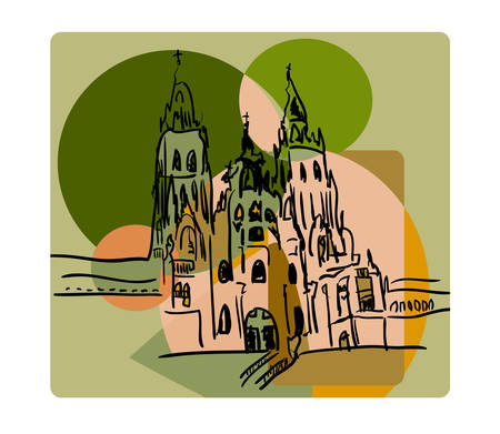 Santiago de Compostela in cubism style in beige and green colors Illustration