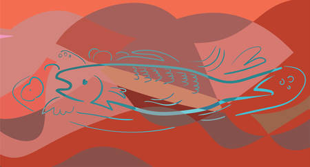 Fish in cubism style. Pastel colors. Red background. Vector
