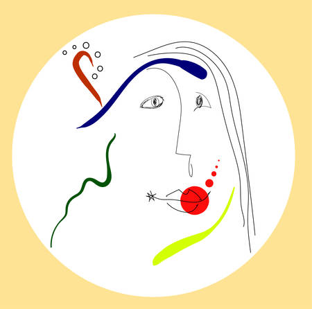 Woman portrait in miro style. Vector 10 eps