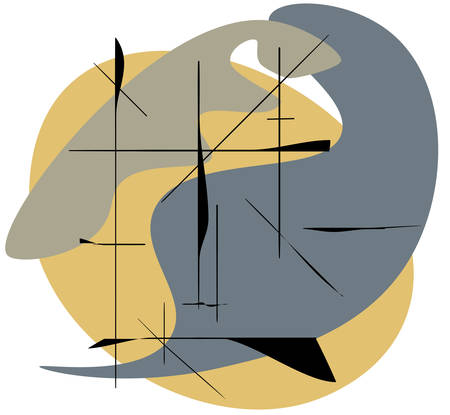 Vector composition of geometric shapes and lines in surrealism style. Eps 10.