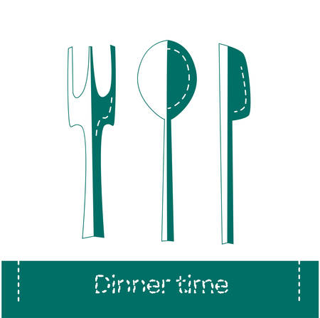 Fork, spoon and knife icon isolated. Dinner time. Eating, nutrition regime, meal time and diet concept. Vector Illustration. Illustration