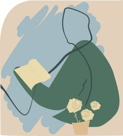 Abstract vector illustration of woman reading a book. Hand drawn artwork made in naive style with abstract details. Illustration