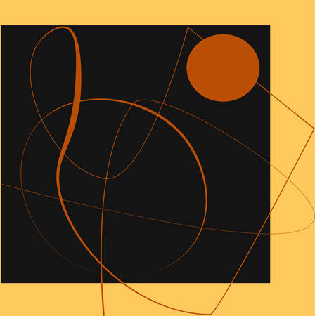 The line abstract form of modern illustration is inspired by Suprematism. Orange, beige and black square