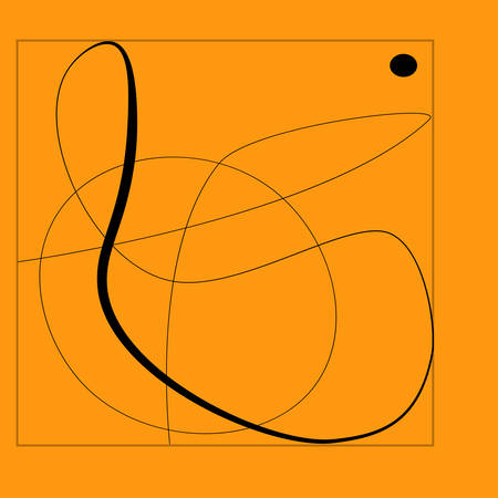Line cubism abstract shape modern illustration. Orange and black