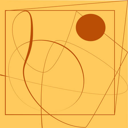 Line futuristic abstract shape modern illustration. Orange and beige Illustration