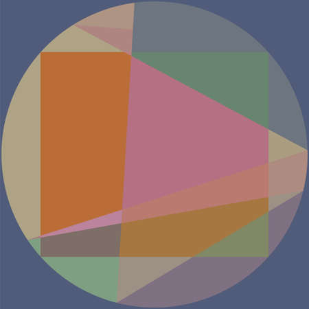 Abstract composition with simple colorful geometric circle and triangular shapes art background.