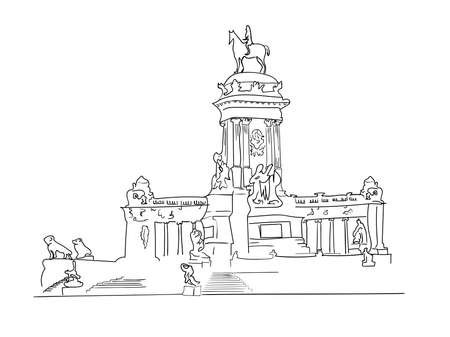Retiro Park sketch vector isolated on white background, Retiro Park transparent sign, line or linear sign, element design in outline style.
