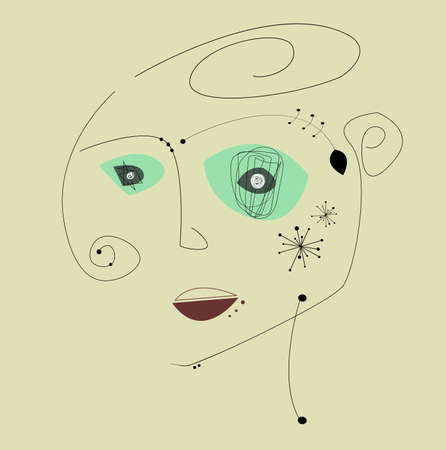 Simple hand trendy line woman portrait art. Stylized line art llustration.