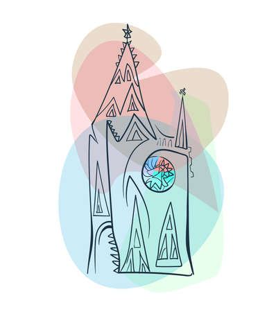Minimalistic gothic cathedral in line style with colorful stained-glass rosette window on a transparent delicate background