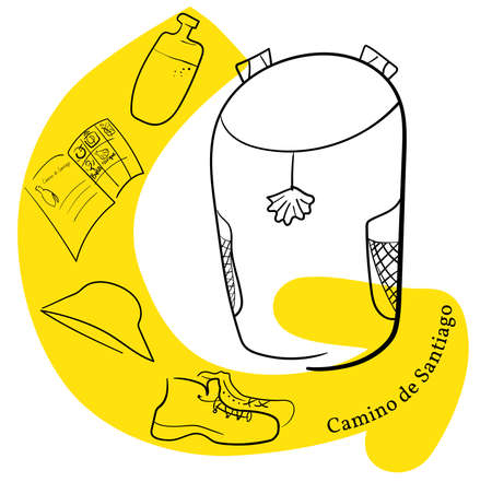 Pilgrim s backpack and yellow arrow.  Hat, backpack, pilgrim passport, boots, water. Translation of the Camino de Santiago St. James s Path - A popular walking route with ancient roots throughout Spain. Illustration