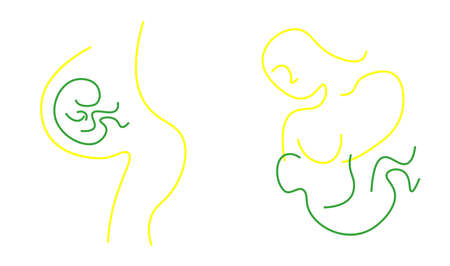 continuous single drawn one line maternity, pregnancy and breastfeeding